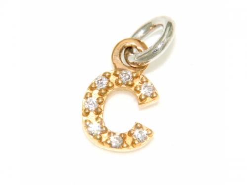 Gold Letter C Christening Pendant